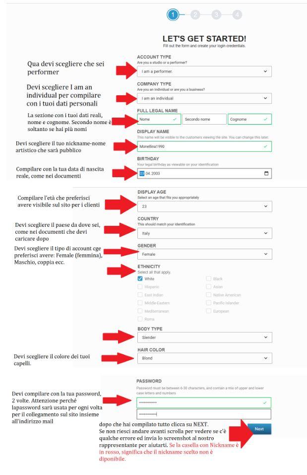Registrazione modelle Streamate step 1