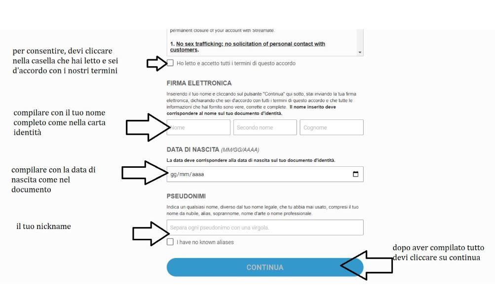 Registrazione modelle Streamate step 3